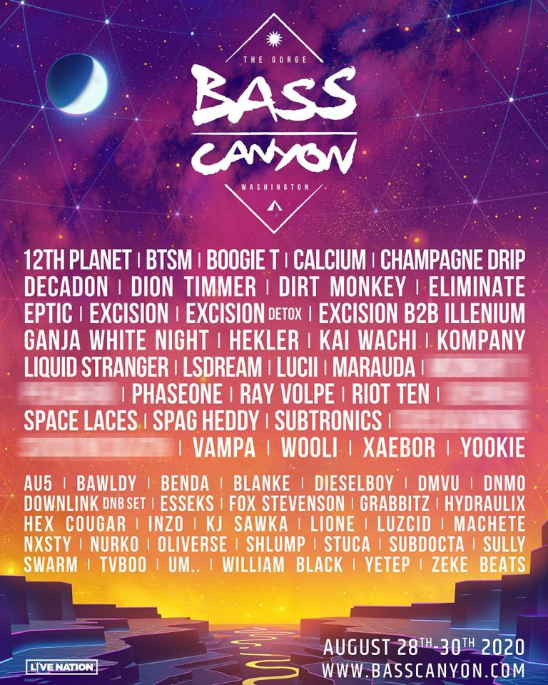 Bass Canyon 2020 Lineup and Tickets