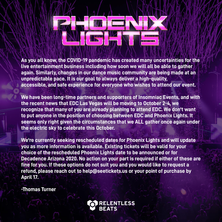PHOENIX: THE LIGHTS RETURN… TO ANOTHER DATE