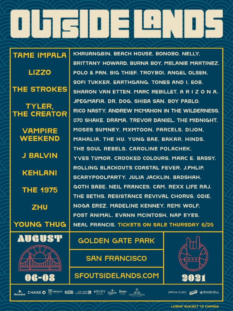 Outside Lands Announces 2021 Lineup Including Lizzo, Tame Impala, The Strokes, and Tyler, The Creato